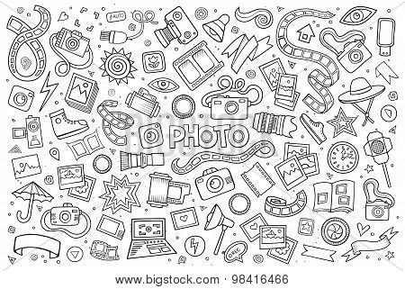 Photo doodles hand drawn sketchy vector symbols