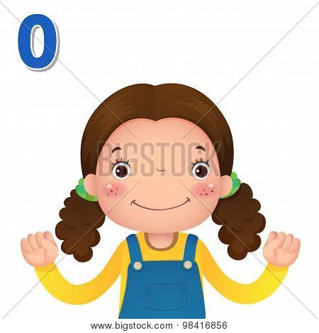 Learn Number And Counting With Kid's Hand Showing The Number Zero