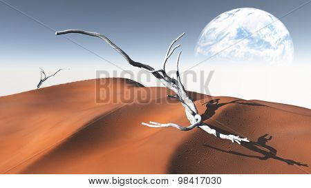 Red  Sand  Desert with Terraformed Moon or earth from terraformed moon or exo-planet