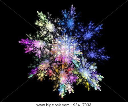 Abstract Fractal Design.snowflake On Black.