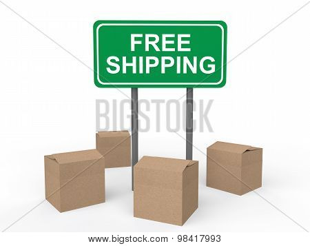 3d cartons and free shipping sign