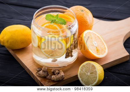 Infused Water Mix Of  Lemon, Orange And Ginger