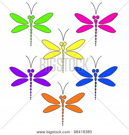 Vector dragonflies of different bright colors on the white background