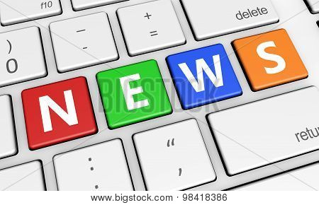 News Sign On Keyboard