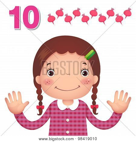 Learn Number And Counting With Kid's Hand Showing The Number Ten