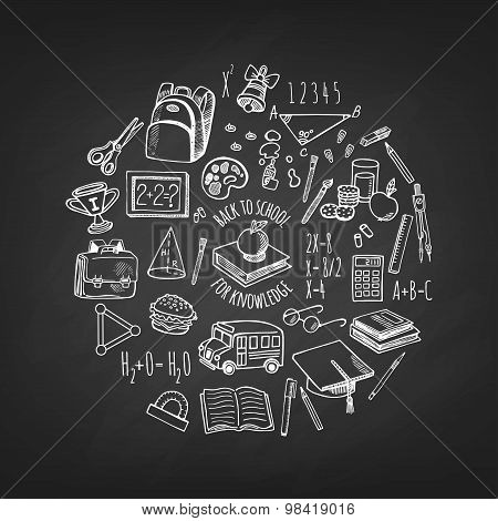 School Tools Sketch Icons Isolation In A Circle On Blackboard Vector Design Illustration