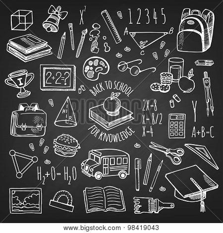 School Tools Sketch Icons On Chalkboard Isolation Vector Set.