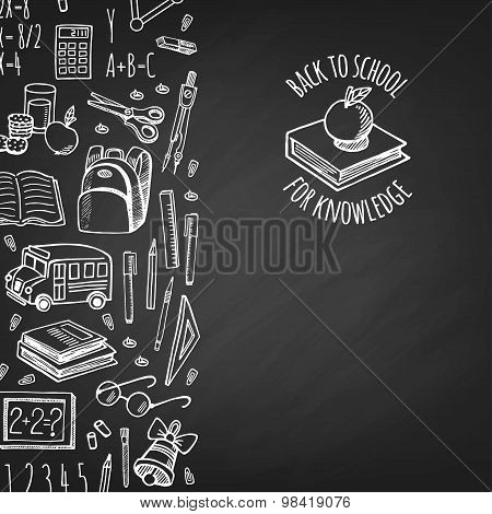School Tools Sketch Icons On Chalk Board  Isolation Vector Vertical Banner.