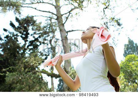 Sporty Woman Relaxing A Body While Take A Deep Breath