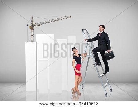 Businessman climbing a ladder