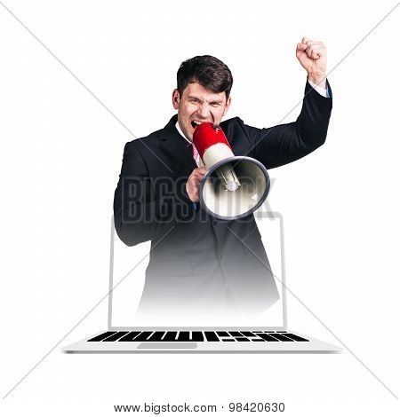 Businessman yelling with a megaphone