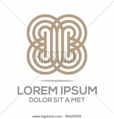 Logo Abstract Letter Line Infinity Vector