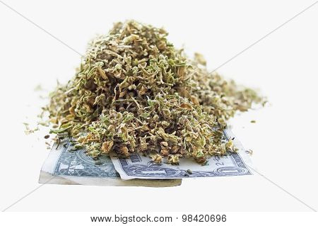 Dried Hemp Leaves And Seeds On One Dollar Banknotes