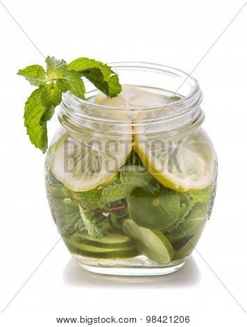Infused Water Mix Of Lime, Mint Leaf, And Lemon Slice