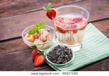 Infused Water Mix Of  Strawberry And Lychees