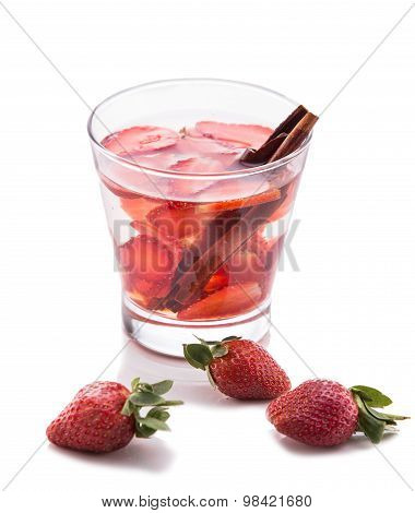 Infused Water Mix Of Strawberry And Cinnamon, Isolated