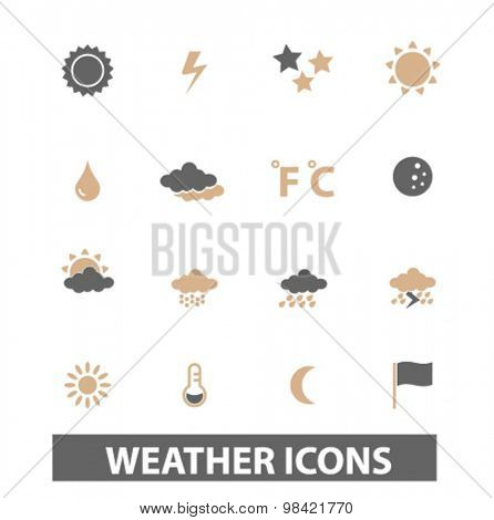 weather, climate icons, signs set, vector