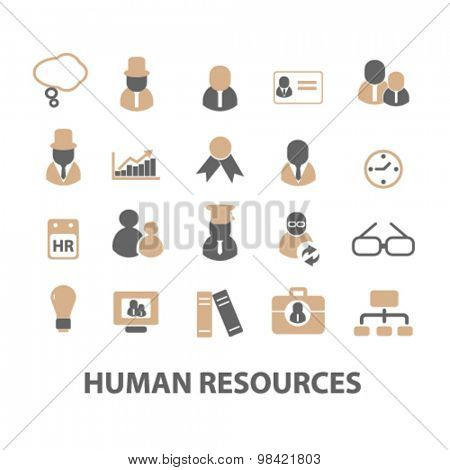 human resources, organization, management flat icons, signs, illustration concept, vector