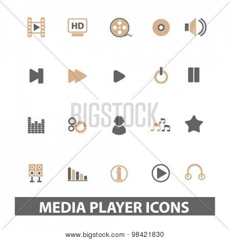 media, audio player flat icons, signs, illustration concept, vector