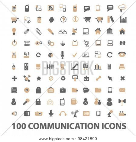 100 communication, technology flat icons, signs, illustration concept, vector