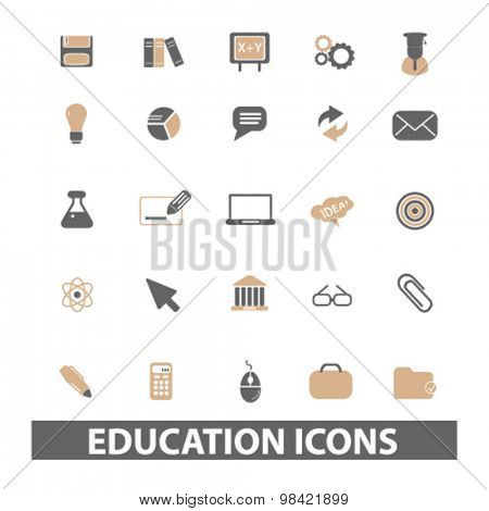 education, study flat icons, signs, illustration concept, vector