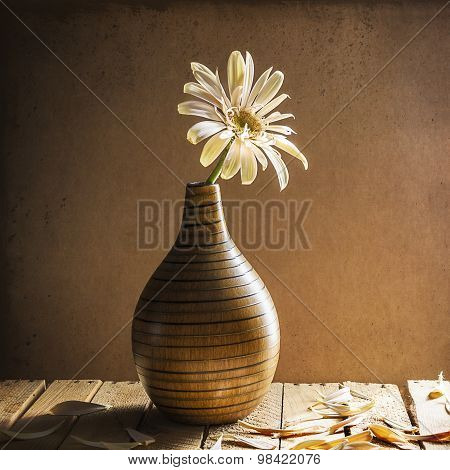 Still Life White Gerbera Brown Vase