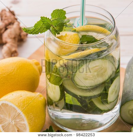 Infused Water Mix Of Cucumber And Lemon