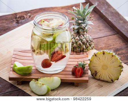 Apple Strawberry And Pineapple Infused Water