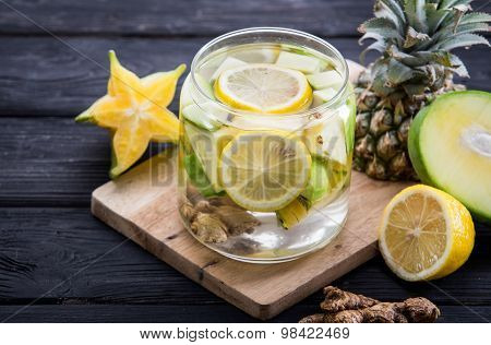 Infused Water Mix Of  Starfruit, Ginger, And Pineapple