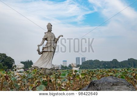 Guan Yin statue in Xuan Wu lake , Jiangxu , Nanjing , China