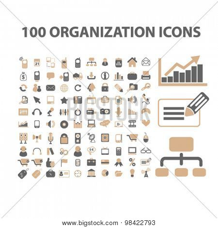 100 organization, management, marketing, human resources flat icons, signs, illustration concept, vector