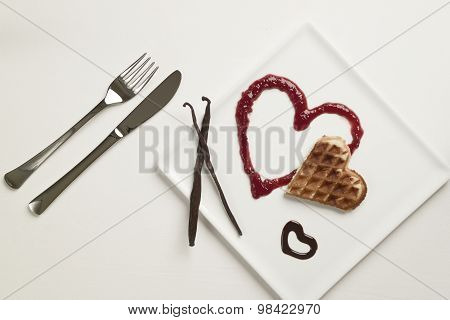 Heart Shaped Waffles, Marmalade, Chocolate Sauce, Vanilla Sticks, Square Plate