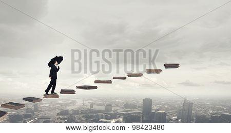 Walking up ladder