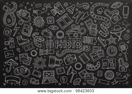 Chalkboard vector hand drawn Doodle cartoon set of objects