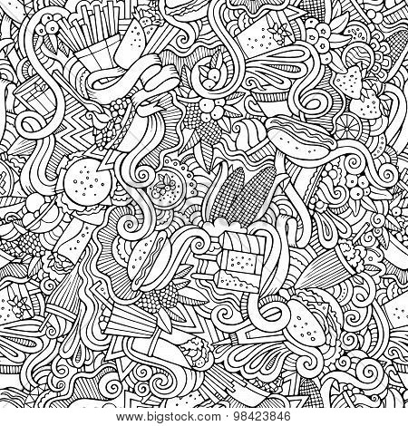 Cartoon vector hand-drawn Doodles on the subject of fast food