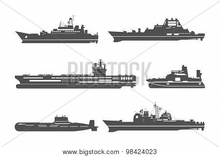 Silhouettes of naval ships