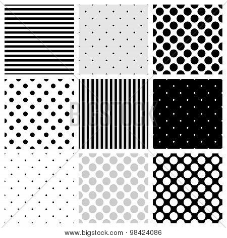 Stripes and polka dots vector tile pattern set, seamless grey, black and white backgrounds