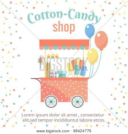 Cotton candy and ice cream street shopping cart