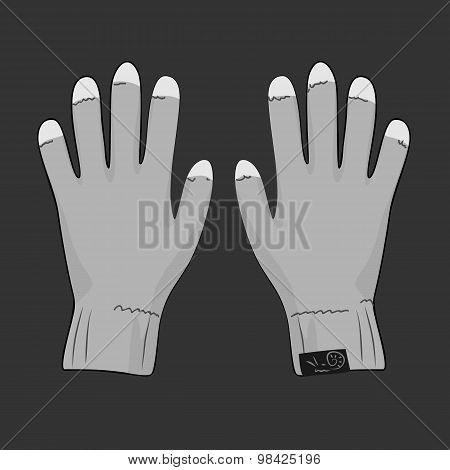 Grey gloves for touch screen