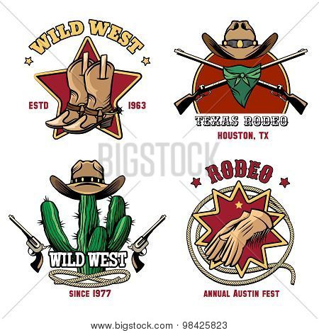 Retro cowboy rodeo emblem set