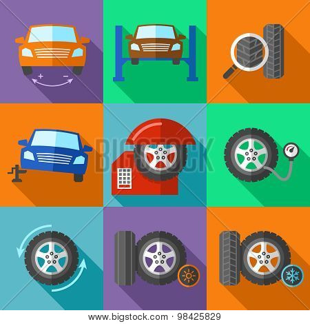 Tire wheel service icons set in flat design style