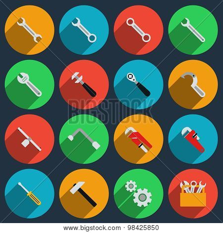 Repair icons in modern flat style