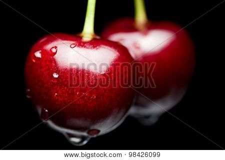 Macro Of Red Cherry With Water Drops