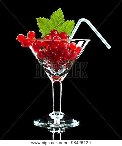 Red Currant And Leaf In Wineglass With Straw