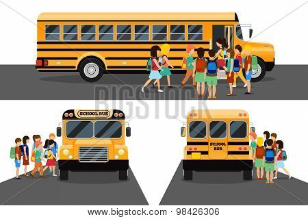 Children get on school bus