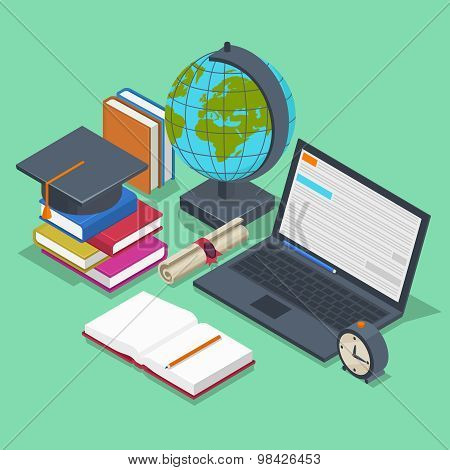 Isometric education vector concept. 3d back to school background in flat style