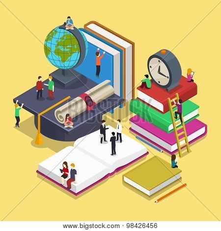 Isometric education graduation concept with people in flat vector style. Back to school 3d illustrat
