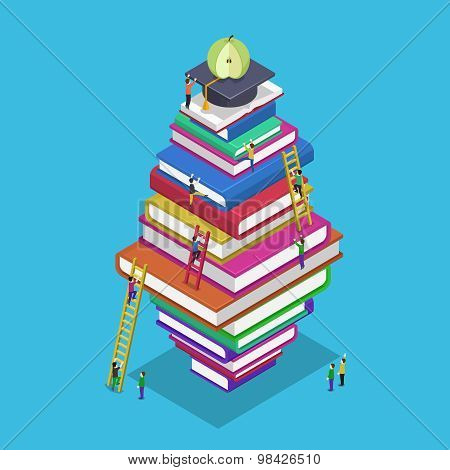 Isometric education graduation back school 3d concept. People scrambling to books