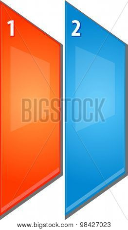 blank business strategy concept infographic diagram perspective panels numbered points illustration Two 2
