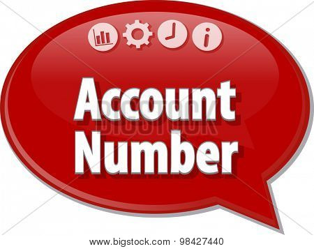 Speech bubble dialog illustration of business term saying Account number